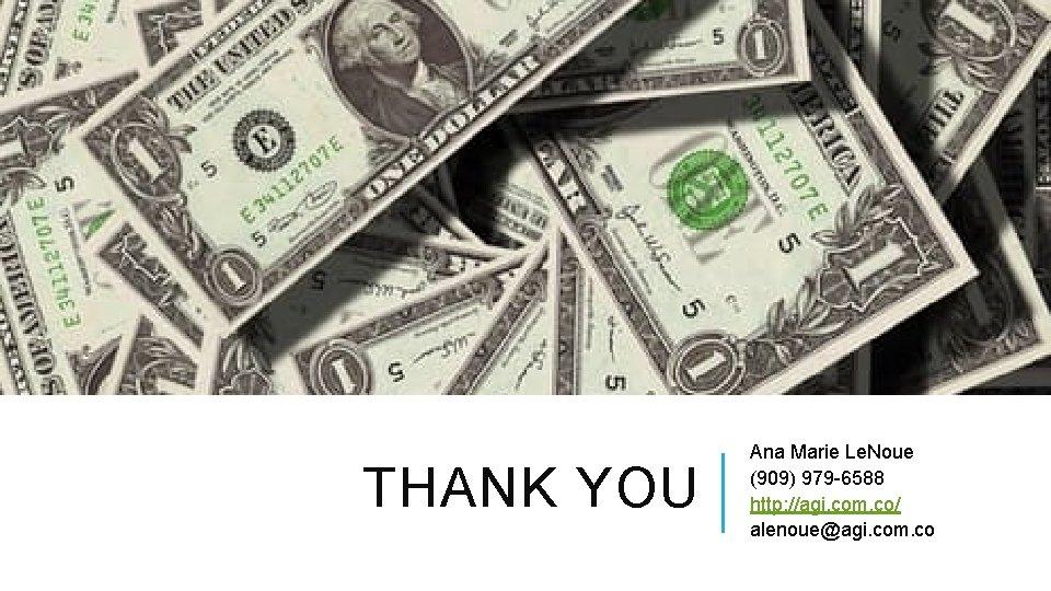 THANK YOU Ana Marie Le. Noue (909) 979 -6588 http: //agi. com. co/ alenoue@agi.