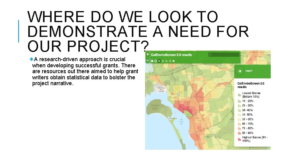 WHERE DO WE LOOK TO DEMONSTRATE A NEED FOR OUR PROJECT? A research-driven approach