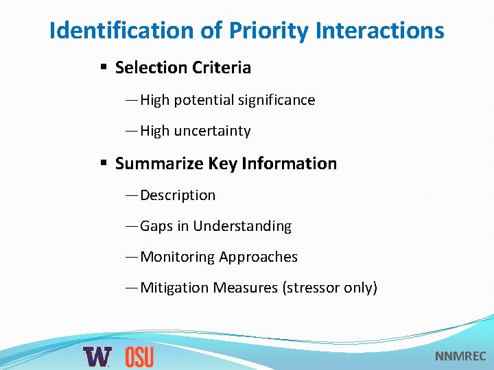 Identification of Priority Interactions § Selection Criteria —High potential significance —High uncertainty § Summarize
