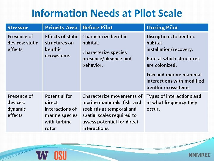 Information Needs at Pilot Scale Stressor Priority Area Before Pilot During Pilot Presence of