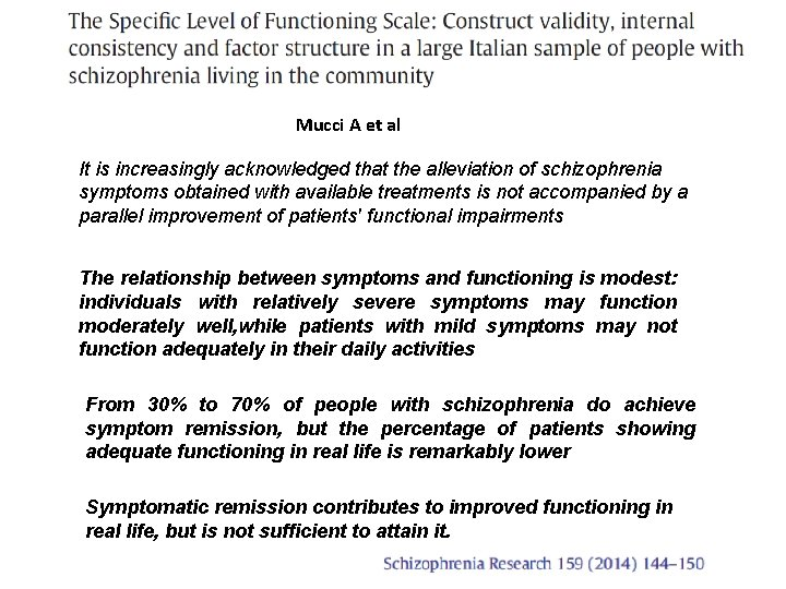 Mucci A et al It is increasingly acknowledged that the alleviation of schizophrenia symptoms
