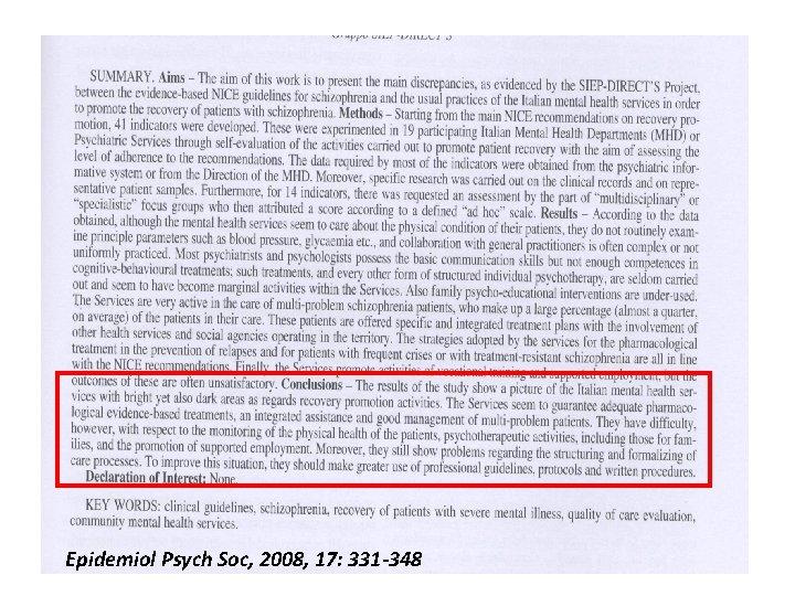 Epidemiol Psych Soc, 2008, 17: 331 -348