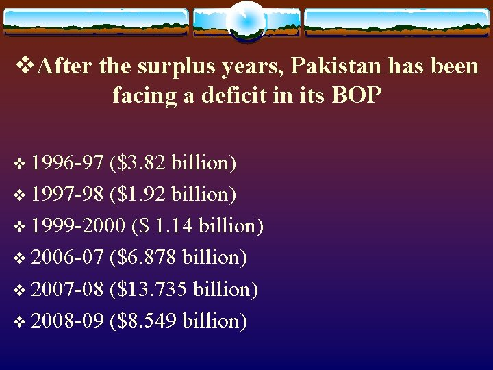 v. After the surplus years, Pakistan has been facing a deficit in its BOP