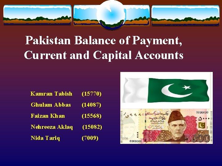Pakistan Balance of Payment, Current and Capital Accounts Kamran Tabish (15770) Ghulam Abbas (14087)