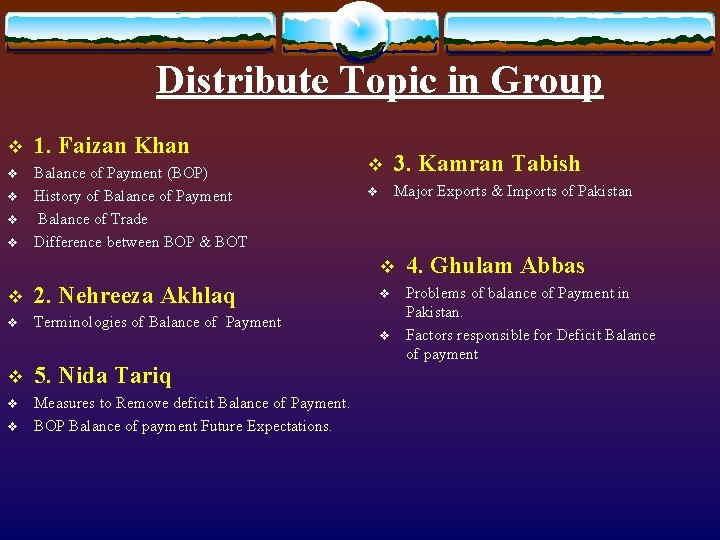 Distribute Topic in Group v 1. Faizan Khan v Balance of Payment (BOP) History