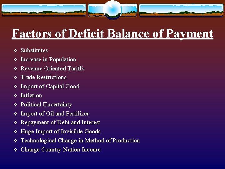 Factors of Deficit Balance of Payment v v v Substitutes Increase in Population Revenue