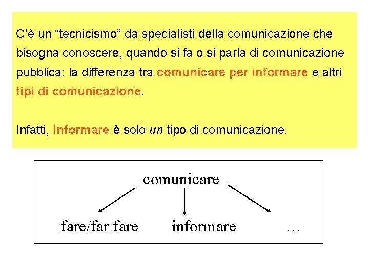 """C'è un """"tecnicismo"""" da specialisti della comunicazione che bisogna conoscere, quando si fa o"""
