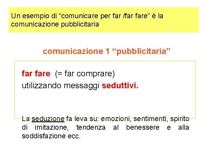 """Un esempio di """"comunicare per far /far fare"""" è la comunicazione pubblicitaria comunicazione 1"""