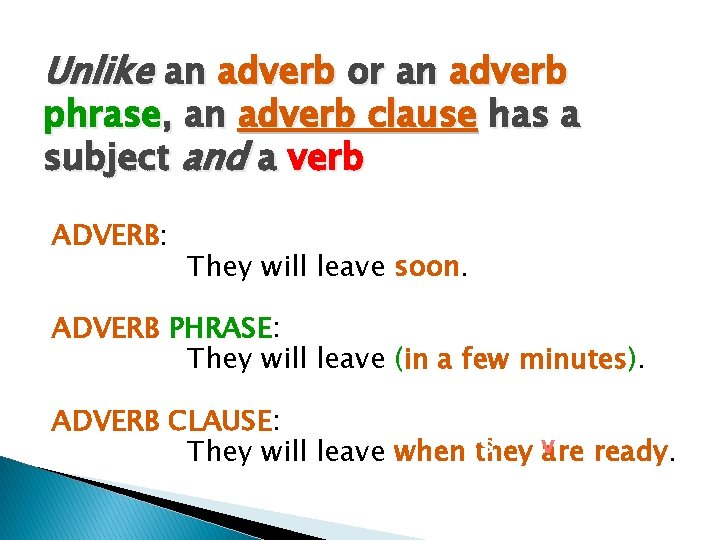 Unlike an adverb or an adverb phrase, an adverb clause has a subject and