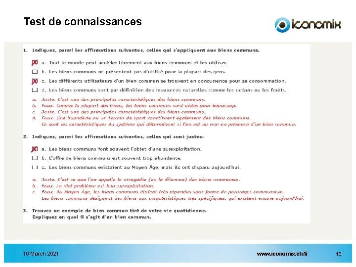 Test de connaissances 10 March 2021 www. iconomix. ch/fr 18