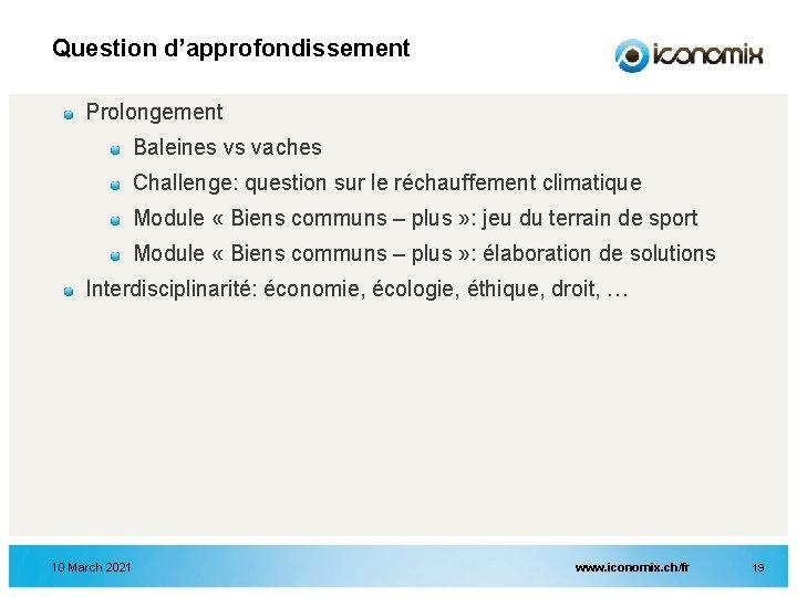 Question d'approfondissement Prolongement Baleines vs vaches Challenge: question sur le réchauffement climatique Module «