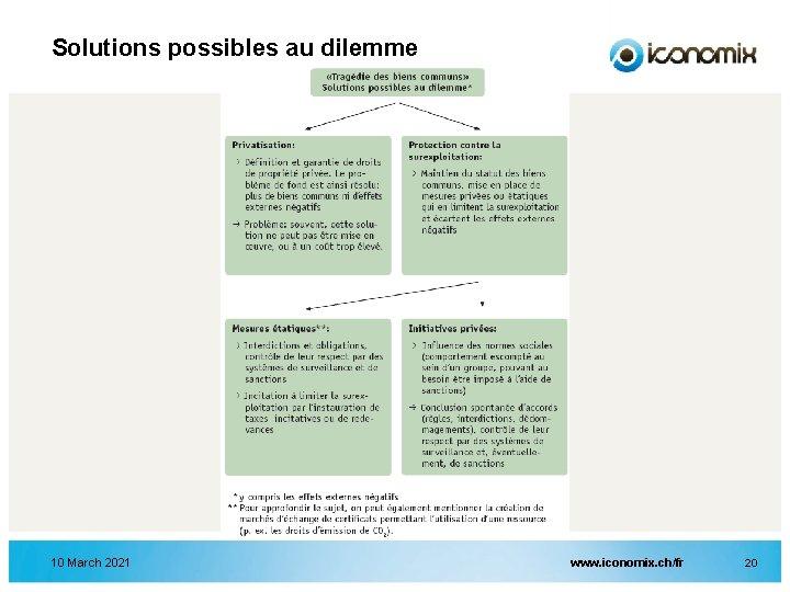 Solutions possibles au dilemme 10 March 2021 www. iconomix. ch/fr 20