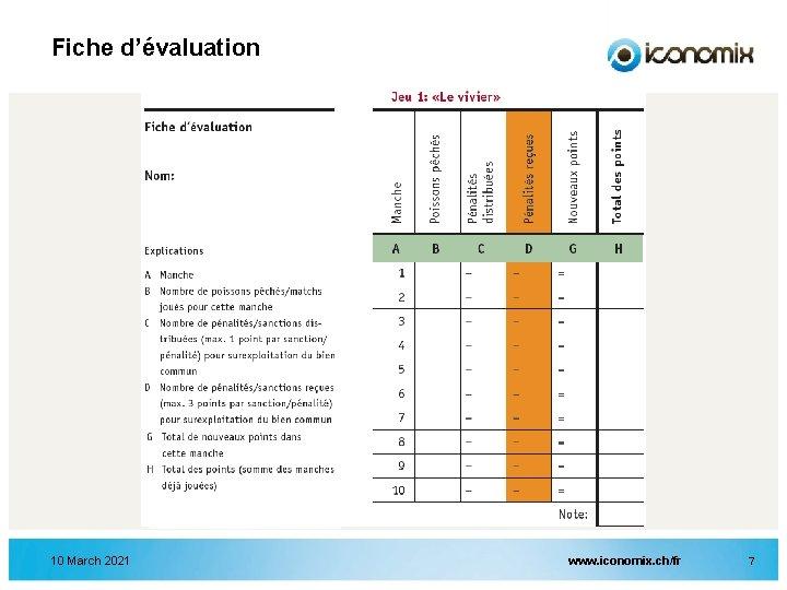 Fiche d'évaluation 10 March 2021 www. iconomix. ch/fr 7