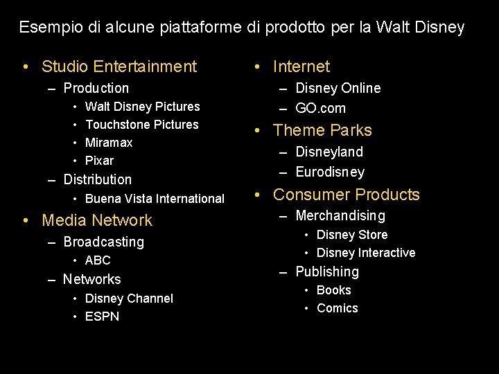 Esempio di alcune piattaforme di prodotto per la Walt Disney • Studio Entertainment –