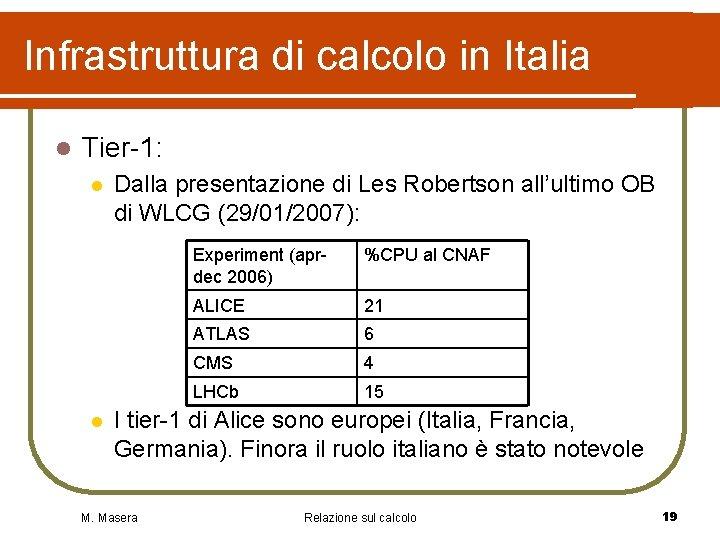 Infrastruttura di calcolo in Italia l Tier-1: l l Dalla presentazione di Les Robertson