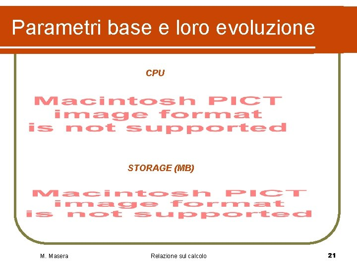 Parametri base e loro evoluzione CPU STORAGE (MB) M. Masera Relazione sul calcolo 21