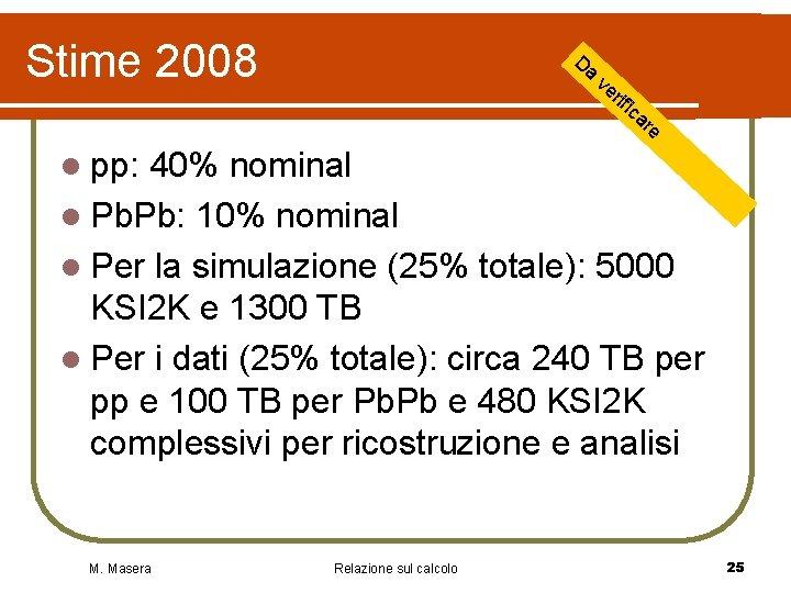 Stime 2008 Da ve rif ica re l pp: 40% nominal l Pb. Pb: