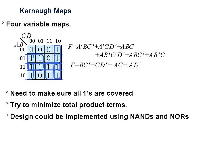 Karnaugh Maps ° Four variable maps. CD 00 01 11 10 AB 00 01