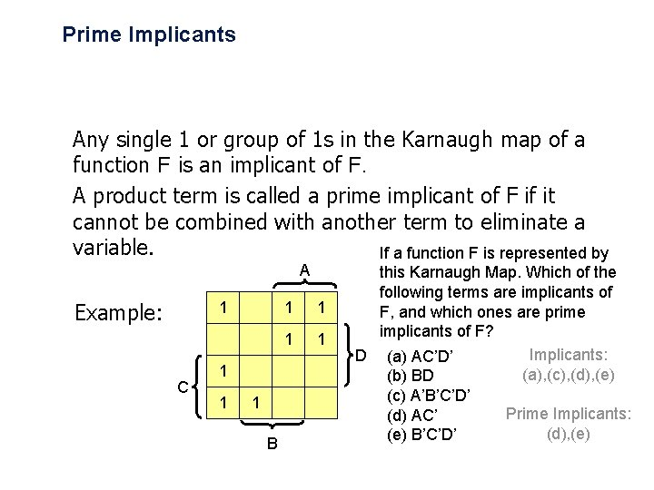Prime Implicants Any single 1 or group of 1 s in the Karnaugh map
