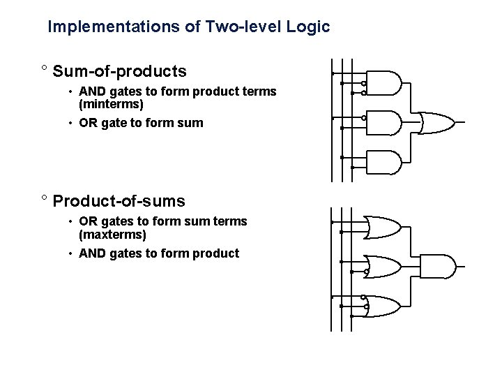 Implementations of Two-level Logic ° Sum-of-products • AND gates to form product terms (minterms)