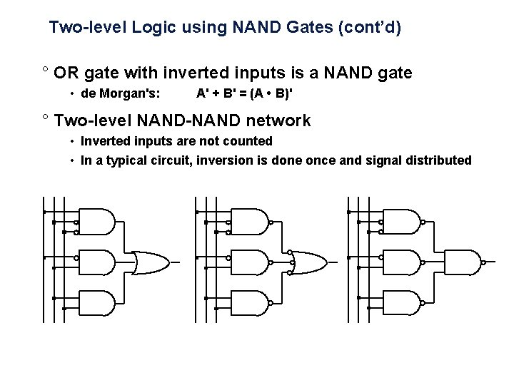 Two-level Logic using NAND Gates (cont'd) ° OR gate with inverted inputs is a