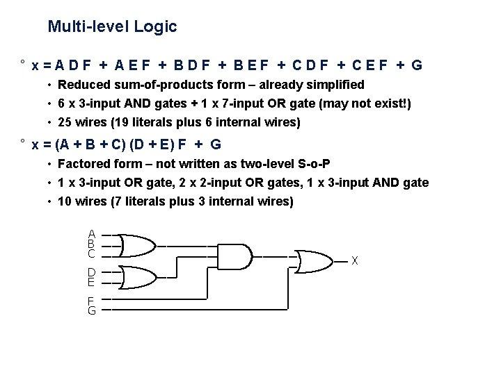 Multi-level Logic ° x = A D F + A E F + B