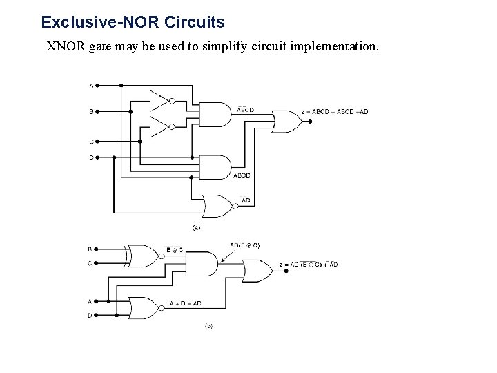 Exclusive-NOR Circuits XNOR gate may be used to simplify circuit implementation.