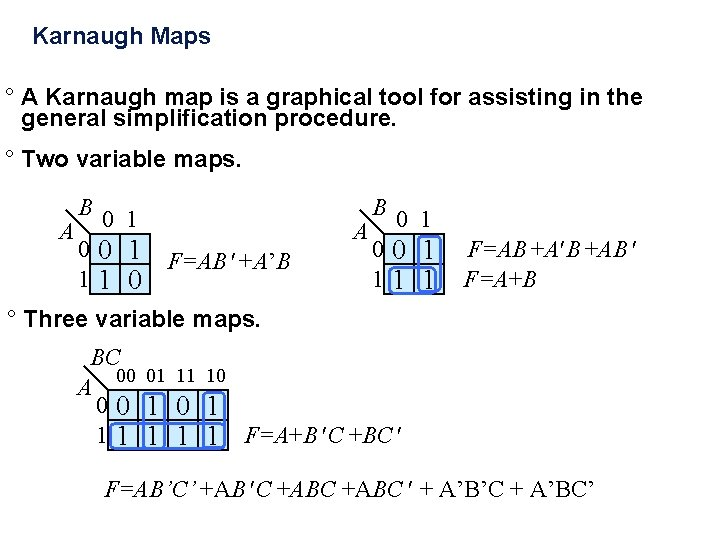 Karnaugh Maps ° A Karnaugh map is a graphical tool for assisting in