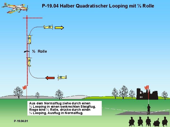 P-19. 04 Halber Quadratischer Looping mit ½ Rolle Aus dem Normalflug ziehe durch einen