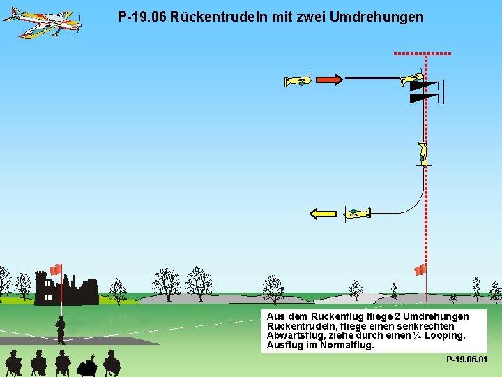 P-19. 06 Rückentrudeln mit zwei Umdrehungen Aus dem Rückenflug fliege 2 Umdrehungen Rückentrudeln, fliege