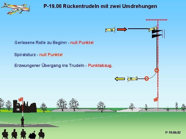 P-19. 06 Rückentrudeln mit zwei Umdrehungen Gerissene Rolle zu Beginn - null Punkte! Spiralsturz