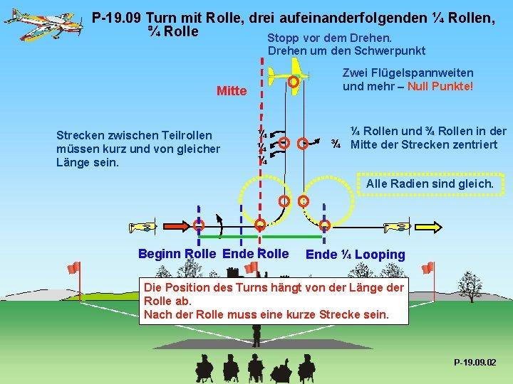 P-19. 09 Turn mit Rolle, drei aufeinanderfolgenden ¼ Rollen, ¾ Rolle Stopp vor dem