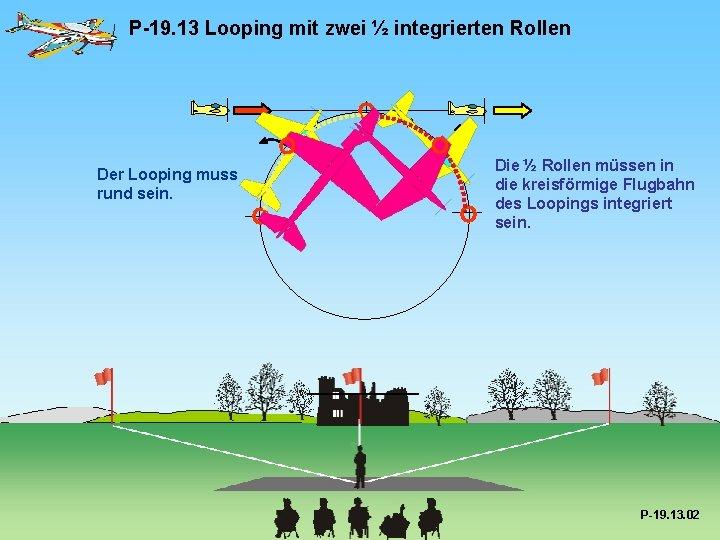 P-19. 13 Looping mit zwei ½ integrierten Rollen Der Looping muss rund sein. Die