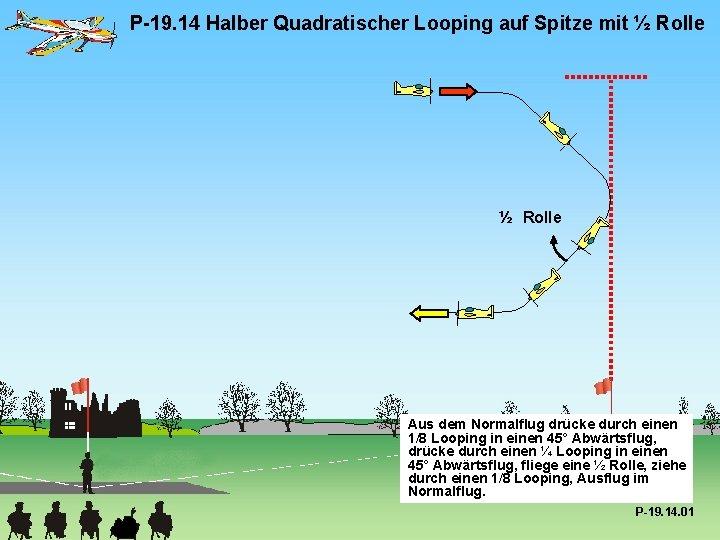 P-19. 14 Halber Quadratischer Looping auf Spitze mit ½ Rolle Aus dem Normalflug drücke