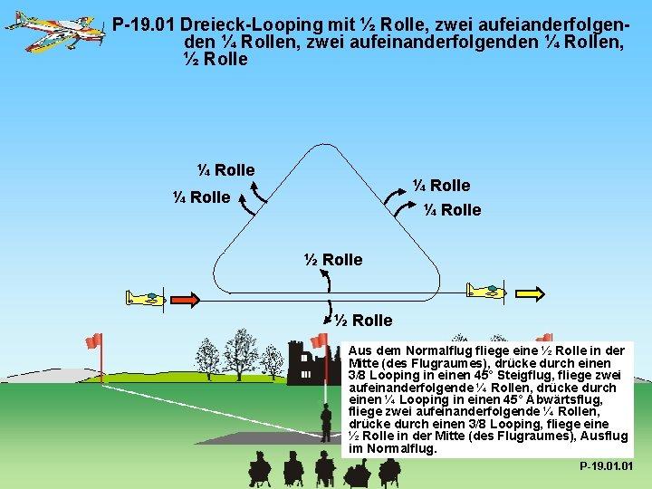 P-19. 01 Dreieck-Looping mit ½ Rolle, zwei aufeianderfolgenden ¼ Rollen, zwei aufeinanderfolgenden ¼ Rollen,