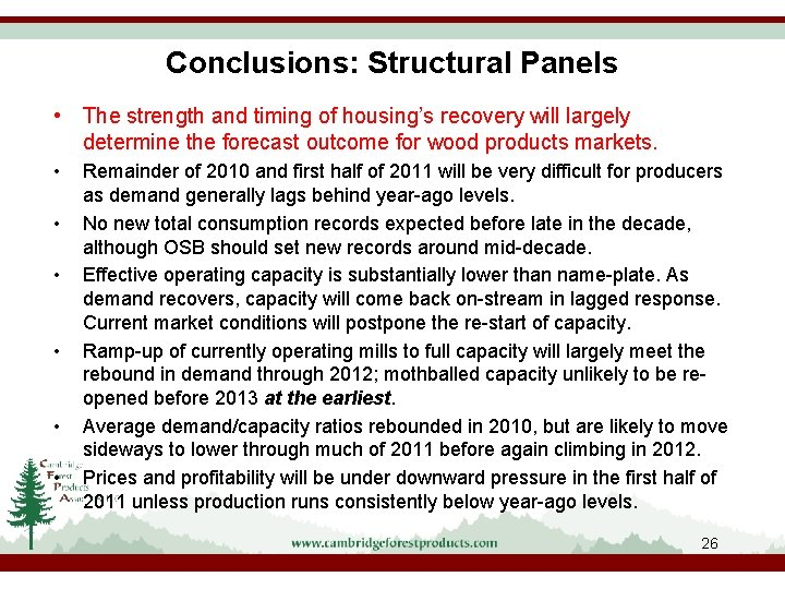 Conclusions: Structural Panels • The strength and timing of housing's recovery will largely determine