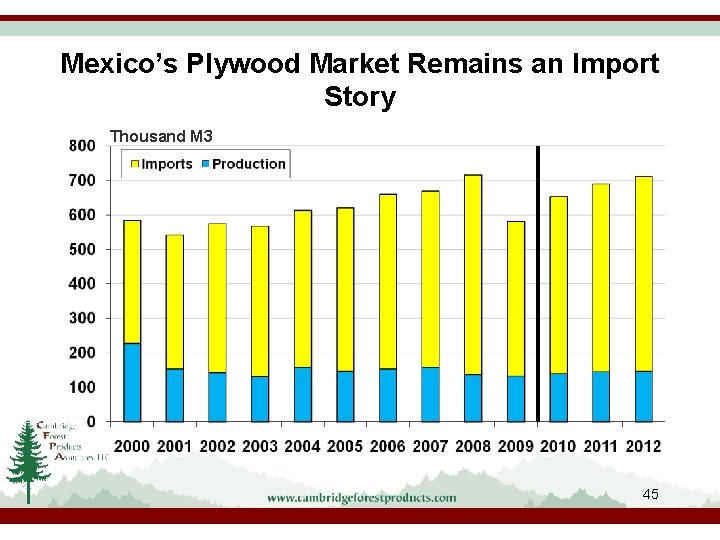 Mexico's Plywood Market Remains an Import Story Thousand M 3 45