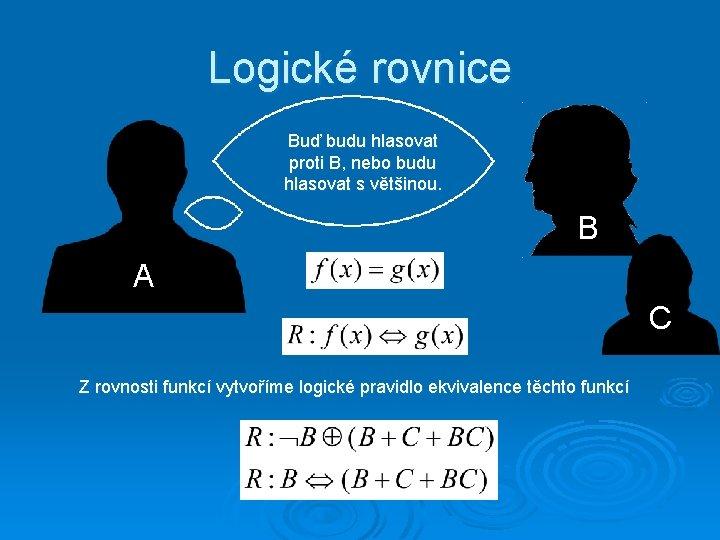 Logické rovnice Buď budu hlasovat proti B, nebo budu hlasovat s většinou. B A