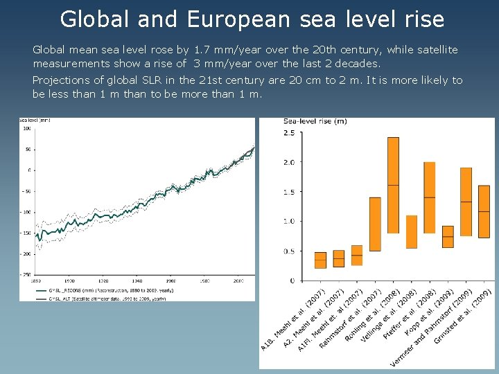 Global and European sea level rise Global mean sea level rose by 1. 7