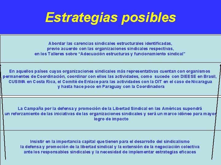 Estrategias posibles. Abordar las carencias sindicales estructurales identificadas, previo acuerdo con las organizaciones sindicales