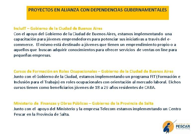 PROYECTOS EN ALIANZA CON DEPENDENCIAS GUBERNAMENTALES Inclu. IT – Gobierno de la Ciudad de