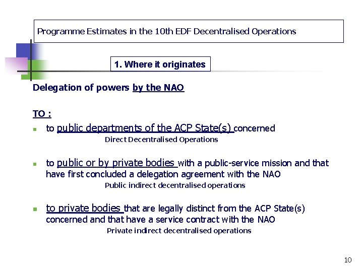 Programme Estimates in the 10 th EDF Decentralised Operations 1. Where it originates Delegation