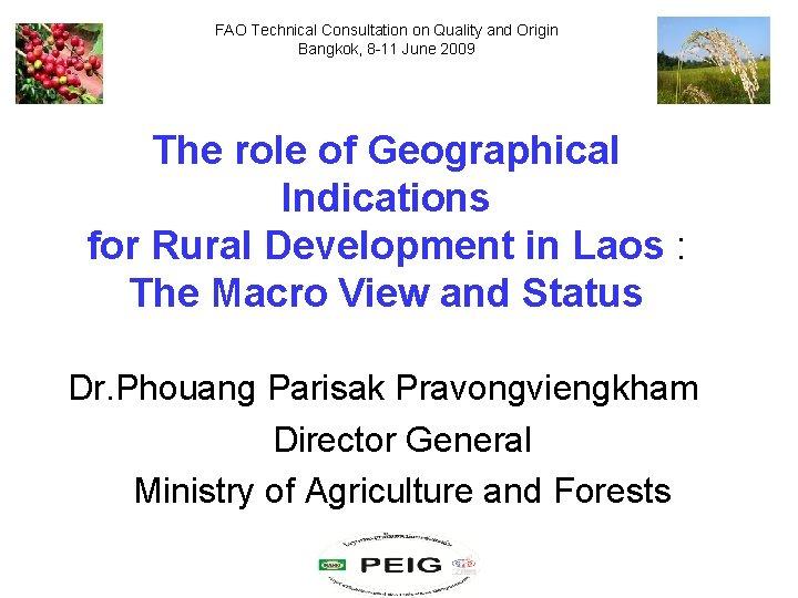 FAO Technical Consultation on Quality and Origin Bangkok, 8 -11 June 2009 The role