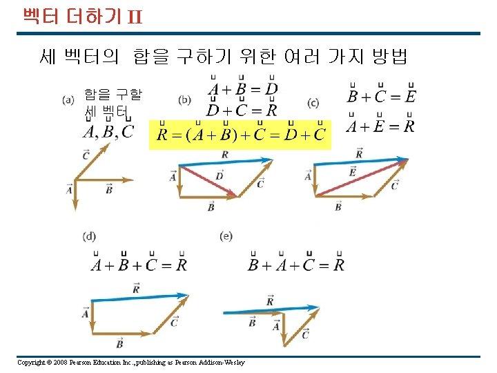 벡터 더하기 II 세 벡터의 합을 구하기 위한 여러 가지 방법 합을 구할 세
