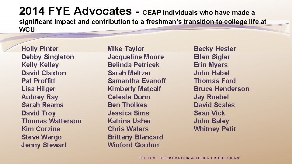 2014 FYE Advocates - CEAP individuals who have made a significant impact and contribution