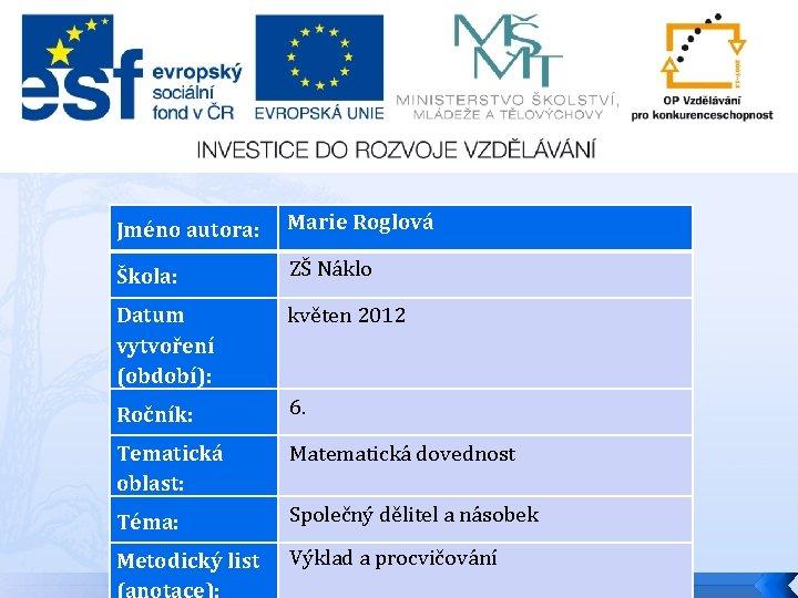 Jméno autora: Škola: Datum vytvoření (období): Marie Roglová ZŠ Náklo květen 2012 Ročník: 6.