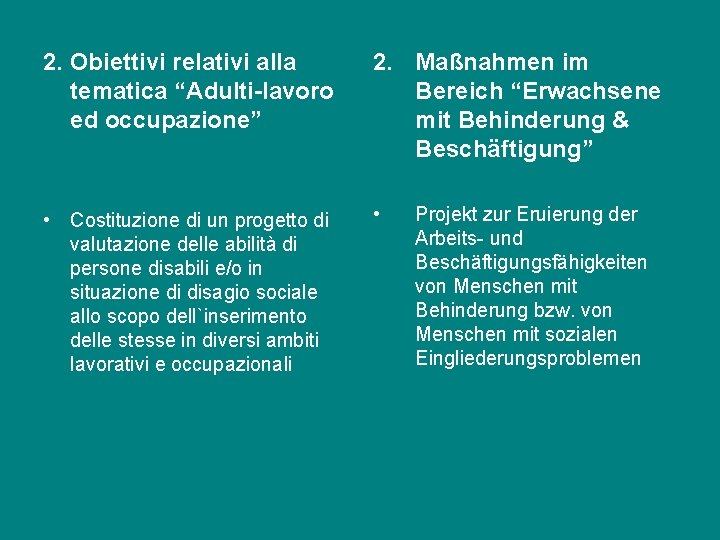 "2. Obiettivi relativi alla tematica ""Adulti-lavoro ed occupazione"" 2. Maßnahmen im Bereich ""Erwachsene mit"