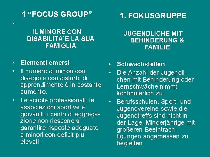"""1 """"FOCUS GROUP"""" • IL MINORE CON DISABILITA'E LA SUA FAMIGLIA • Elementi emersi"""