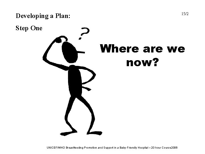 15/2 Developing a Plan: Step One Where are we now? UNICEF/WHO Breastfeeding Promotion and
