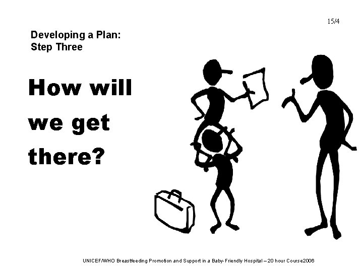 15/4 Developing a Plan: Step Three How will we get there? UNICEF/WHO Breastfeeding Promotion